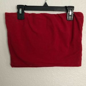 Red strapless tube top